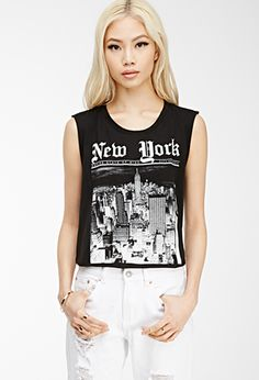 New York Muscle Tee   FOREVER21 Like that it looks like the front page of a newspaper (even if it's cliche).
