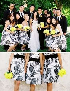 Patterned bridesmaid dresses - black and white Not so crazy about the print but i like the idea