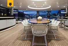 KISMET is available now for charter in the Caribbean & Mediterranean! Deck Boat, Below Deck, Big And Small, Fresh Water, Caribbean, Dining Table, Cabin, Table Decorations, Interior