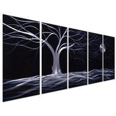 Moon wall art is enchanting, trendy and absolutely  beautiful.  Spruce up your home with  these beautiful pieces of moon home décor.   Moon home wall art décor is timeless and symbolizes balance, enlightenment  and eternity.  Moon wall art is truly  timeless      Pure Art Moonlight Landscape Tree and Moon - Black and White Abstract Large Metal Wall Art Decor - Set of 5 Decorative Hanging Sculpture - Modern Artwork Measures 64