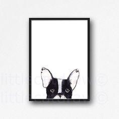 Black and White Peeking French Bulldog Print Illustration Watercolor Painting Art Print Frenchie Wall Art Frenchie Dog Unframed Print