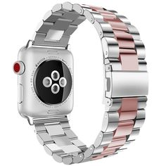 Buy Guigong Band Compatible with Apple Watch, Stainless Steel Metal Replacement Smart Watch Strap Bracelet for Apple Watch Iwatch (silver/rosegold Apple Watch 42mm, Apple Watch 38, Apple Watch Series 2, Apple Watch Bands, Apple Band, Watch 2, Smartwatch, Stainless Steel Rolex, Stainless Steel Bracelet