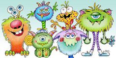 Color Pencil Painting - Monster Friends by Annie Troe Cartoon Monsters, Cute Monsters, Little Monsters, Gato Origami, Pencil Illustration, Cute Monster Illustration, Cute Clipart, Happy Paintings, Monster Party