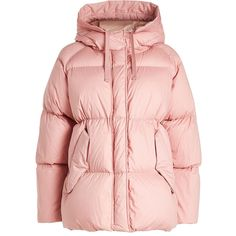 Moncler Quilted Down Jacket ($1,930) ❤ liked on Polyvore featuring outerwear, jackets, pink, pink jacket, pink quilted jacket, quilted jacket, lightweight jackets and light weight down jacket