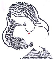 Tattoo moon mandala beautiful new ideas Doodle Art Drawing, Mandala Drawing, Pencil Art Drawings, Love Drawings, Art Drawings Sketches, Mandala Artwork, Love Mom, Mothers Love, Happy Mothers Day