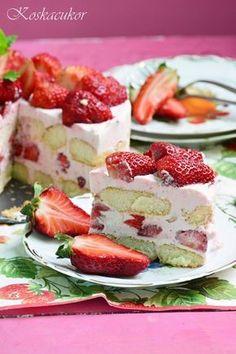 Koskacukor: Görög joghurtos eper torta Eastern European Recipes, Greek Yoghurt, Diy Food, Cake Cookies, Amazing Cakes, Cake Recipes, Cheesecake, Strawberry, Food And Drink