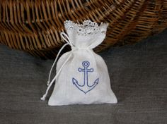 Nautical favor bags with lace white blue anchor gift bag set of 20 bridal favor sachets for beach wedding