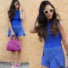 Glency feliz blue lace shorts, blue top, pink handbag and pink shoes, look of the day, fashionista, streetstyle