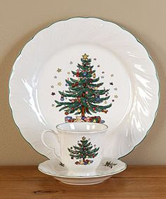 @Overstock - Christmastime ironstone dinnerware features a Victorian period Christmas tree  pattern  Dishes depict a tree gaily decorated with ornaments and gifts, including Nikko's signature Christmas teddy bearhttp://www.overstock.com/Home-Garden/Nikko-Happy-Holidays-12-piece-Dish-Set/2589756/product.html?CID=214117 $69.99