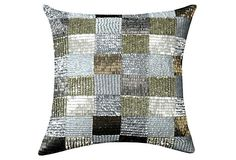 Patchwork 12x12 Pillow, Silver/Gold