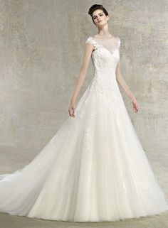 $209.99 A-line Removeable Straps Tiered Softly Tulle Neckline Lace Wedding Dress Low Back 2012