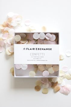 About the confetti We know you've worked hard to select the perfect party color palette and standard 'party store' confetti just won't do. We've created confetti to match our products perfectly. Our confetti is made in house, each box is hand filled and sealed for you. Working with a custom