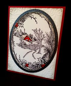 Stampendous Christmas Cottage paired with Gina Marie Stitched Oval die and Darice Holly EF