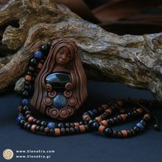Pure Mother Earth Necklace with pure Sodalite and Onyx Crystals 🍂 #Jewellery #Necklaces #BeadedNecklaces #GoddessPendant #GoddessJewelry #GoddessNecklace #MotherEarth #BohoPendant #EarthGoddess #BohemianNecklace #ClayNecklace #SpiritJewelry #SacredJewelry #WiccanPagan #SpiritualJewelry #MetaphysicalJewelry