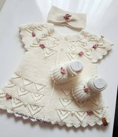 Very Nice Embellishments - maallure Baby Sweater Patterns, Baby Knitting Patterns, Knitting Designs, Baby Patterns, Doll Patterns, Dress Patterns, Crochet Vest Pattern, Knit Crochet, Crochet Patterns