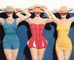 Those romantic (not really), hard/scratchy 1950's swimsuits - some with stays to poke you in the ribs.