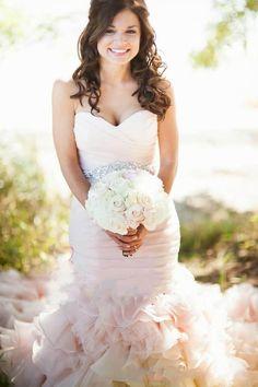 Budget Wedding Dresses Vintage 2015 Sweetheart Beads Crystal Blush Pink Belt Organza Lace Up Backless Mermaid Wedding Dresses Floor Length Bridal Gowns Wedding Dress Mermaid From Ourfreedom, $135.08| Dhgate.Com