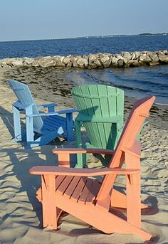 {pastel chairs on the beach...}