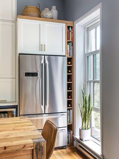 Swartz used the space to expand the kitchen. To allow room for the right-side fr… – Kitchen Furniture Storage Home Decor Kitchen, Kitchen Furniture, Kitchen Interior, Home Kitchens, Furniture Storage, Diy Furniture, Navy Kitchen, Kitchen Dining, Refrigerator Cabinet