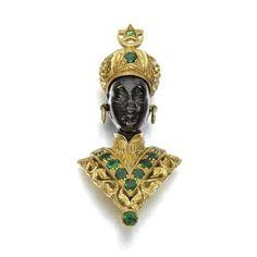 Emerald Brooch, G. Nardi, Venice, Italy  1960s