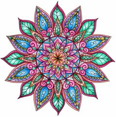 Finished Colouring - Floral Mandala by WelshPixie.deviantart.com on @DeviantArt