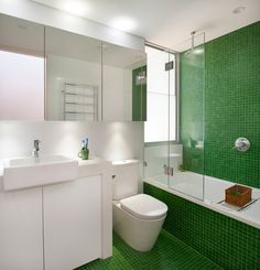 Emerald Green Tile Bathroom via @Contemporist .com .com
