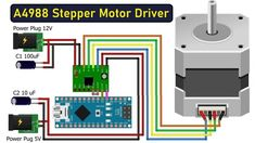 Schrittmotor Arduino, Arduino Board, Arduino Stepper Motor Control, Electrolytic Capacitor, Pcb Board, Development Board, Electronic Engineering, Arduino Projects, Circuit Diagram