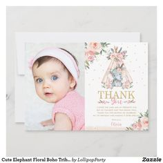 Cute Elephant Floral Boho Tribal Birthday Photo Thank You Card Girl Birthday Themes, Birthday Photos, 1st Birthday Parties, Birthday Ideas, Photo Thank You Cards, Custom Thank You Cards, Lollipop Party, Floral Wreath Watercolor, First Birthday Invitations