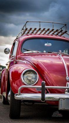 Red Top Rack Volkswagen Beetle--I love red VW Bugs! Wolkswagen Van, Carros Retro, Beetle Car, Red Beetle, Porsche, Audi, Vw Camping, Vw Vintage, Vw Cars