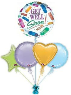 """Send your best wishes with fabulous """"Bandages"""" Get Well balloons in a box. Lots of Get Well Soon balloons to choose from. Helium filled Get Well balloon gift ideas delivered free balloon delivery. Get Well Balloons, Balloon Delivery, Balloon Gift, Get Well Soon, Wellness, Gifts, Presents, Get Well, Favors"""