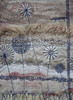 Stevie Walker -- seed heads by becky Freehand Machine Embroidery, Free Motion Embroidery, Free Machine Embroidery, Embroidery Applique, Embroidery Stitches, Textile Fiber Art, Textile Artists, Art Du Fil, Creative Textiles