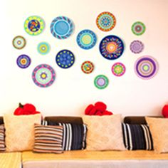 [SHIJUEHEZI] Colorful Dishes Wall Sticker Vinyl Material Hollowware Stickers Modern DIY Decor for Living Room Kitchen Decoration