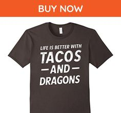 Mens Life Is Better with Tacos and Dragons Funny Food Fantasy Tee Small Asphalt - Fantasy sci fi shirts (*Amazon Partner-Link)