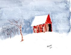 Watercolor of a barn on a snowy day.  9x12 with11/14 mat for $50. Snowy Day, Poetry, Dads, Paintings, Watercolor, House Styles, Pen And Wash, Watercolor Painting, Paint