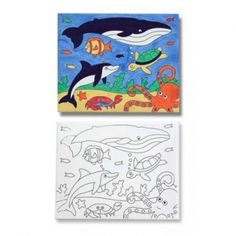 """Grab a paintbrush and plunge into this fabulous scene of life beneath the waves. Six brilliant colors can be combined on the mixing tray to add details to this canvas to create your own """"ocean"""" of painting pleasure."""