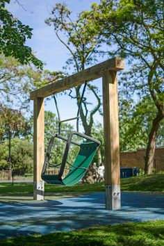 We offer a wide range of playground swings made from naturally durable hardwood. Our swings are suitable for all ages and abilities. Manufactured in the UK. Playground Swings, Water Playground, Playground Flooring, Park Playground, Playground Design, Tropical Architecture, London Architecture, Modern Fence, Patio