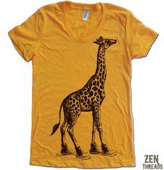 Womens GIRAFFE in High Tops american apparel T Shirt by ZenThreads, $18.00