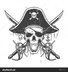 Illustration about Skull pirate illustration in vector. Illustration of halloween, flag, head - 70035538 Skull Pirate, Pirate Skull Tattoos, Pirate Art, Pirate Life, Pirate Tattoo Drawings, Pirate Flags, Image New, Totenkopf Tattoos, Jolly Roger