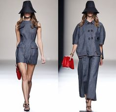 Juanjo Oliva 2014 Spring Summer Womens Runway Collection - Mercedes-Benz Fashion Week Madrid Spain - Denim Jeans Dress Outfit Coat Watercolo...