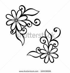 Beautiful Decorative Flower with Leaves (Vector), Patterned design by IrinaKrivoruchko, via Shutterstock