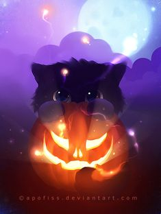 Halloween is just around the corner and everyone must have decided on a theme to use. Take inspiration from amazing Halloween art, illustrations and designs shared here. Arte Do Kawaii, Kawaii Art, Halloween Illustration, Cute Animal Drawings, Cute Drawings, Anime Animals, Cute Animals, Halloween Wallpaper, Cat Wallpaper