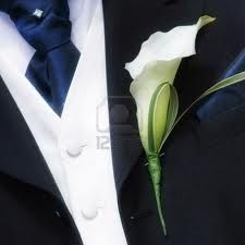 .Simple Buttonhole of Calla Lily with folded China Grass.