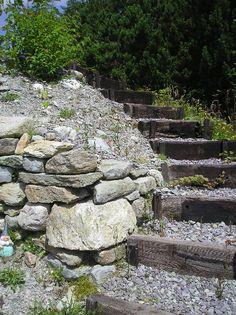 Railway sleeper steps