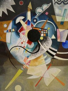 """""""One Center"""", oil on canvas, 1924, by abstract painter Wassily Kandinsky. """"Color is the keyboard, the eyes are the harmonies, the soul is the piano with many strings. The artist is the hand that plays, touching one key or another, to cause vibrations in the soul."""" (Kandinsky)"""