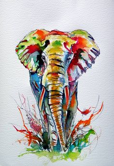 painting Ideas Elephant - African elephant Painting by Kovacs Anna Brigitta. African Art Paintings, Animal Paintings, Animal Drawings, Art Drawings, Original Paintings, African Drawings, Original Art, Elephant Sketch, Elephant Artwork