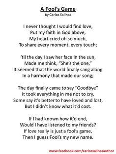 Poems by Carlos Salinas - Carlos Salinas, Writer/Author/Poet #poetry #poems #poem #rhyme #verse #lyrics #verse #reading #english #literature #lovepoetry #love #lovepoem