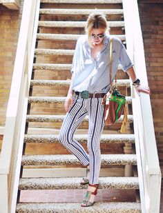striped jeans from Free People, Style Nanda blouse, and Dries van Noten sandals