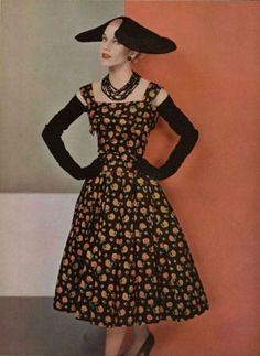 Christian Dior Gown, 1955 - L'Officiel de la Mode. Shoulder high black gloves and black hat
