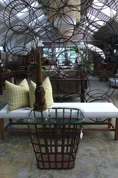 Liven up your #garden with this #lounge #chair, iron #bin, and fun #circle #art #Southampton #Mecox #interiordesign #mecoxgardens #furniture #shopping #design #home #designidea #room #vintage #antiques