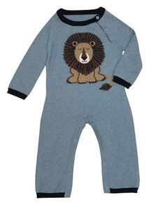 Lion+Cotton-Cashmere+Coverall,+Light+Blue,+Size+0-12+Months+by+Lucky+Jade+at+Neiman+Marcus.